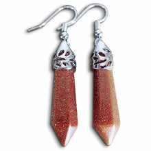 Load image into Gallery viewer, Looking for Orange Stone Earrings? Show Goldstone Jewelry at Magic Crystals. Natural Goldstone stone, dangle earrings, and more. Goldstone earrings help to encourage healing. Crystal Single Point Earrings, Small Crystal Points, Healing Crystal Earrings,  Goldstone Gemstones, and more. FREE SHIPPING available.