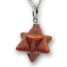 Load image into Gallery viewer, Goldstone Stone Star of David Estrella de David Merkaba Necklace - Magic Crystals