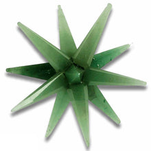 Load image into Gallery viewer, XL Green Aventurine 12 Point Merkaba Star. Looking for Green 12 point stars? Shop for our genuine gemstones. Green Aventurine 12 gemstone point star. Assists you with HEALING, ABUNDANCE and GROWTH. FREE SHIPPING available. Aventurina verde carved in star.