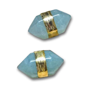Green Aventurine Double Terminated Gold Stud Earrings/ Simple Delicate Gemstone Stud Post Earrings/ Minimal Simple Natural Stone -Magic Crystals - Stud Earrings - Silver Earrings, Jewelry for women
