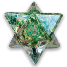 Load image into Gallery viewer, Green Aventurine Crystal Orgone Merkaba, Sacred Geometry Resin Star helps against EMF and haarp radiations in our environment. Sacred light within this Orgonite Resin Merkaba Star. Magic Crystals carries Merkaba filled with healing crystal. Merkaba, also spelled Merkabah, translates literally to light, spirit, body.