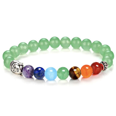 Green Aventurine Gemstone 7 chakra Stone Buddha Bracelet-Bracelets-Magic Crystals