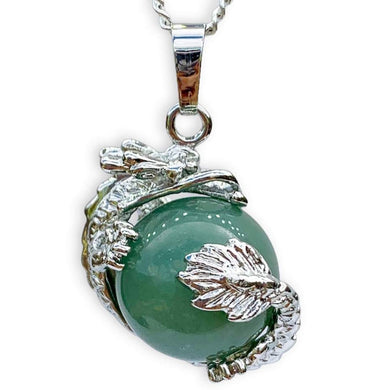 Green Aventurine Stone Sphere Dragon Pendant Necklace - Dragon Necklace - Magic Crystals