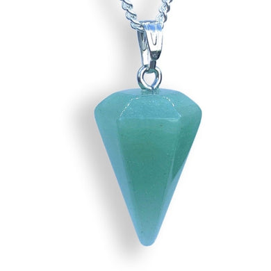 Green Aventurine Stone Quartz Single Point Necklace-NECKLACES-Magic Crystals