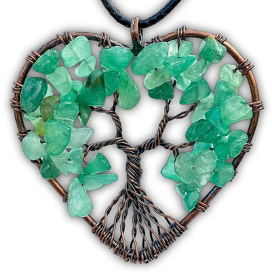 Copper Heart Aventurine Pendant - Magic Crystals,Handmade Tree of life - Copper Necklace