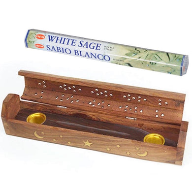 Handcrafted India Incense Burner, Wooden Box with Storage and incense - Magic Crystals - incense sticks - special bundles