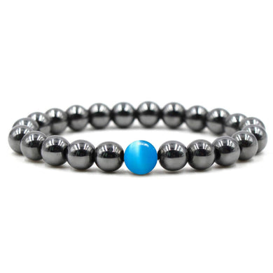 Hematite Stone + Blue Cat Eye Beaded Bracelet-Bracelets-Magic Crystals