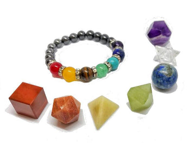 7 Sacred Geometry set and 7 Chakra Stone Healing Hematite Bracelet-Special Bundle-Magic Crystals