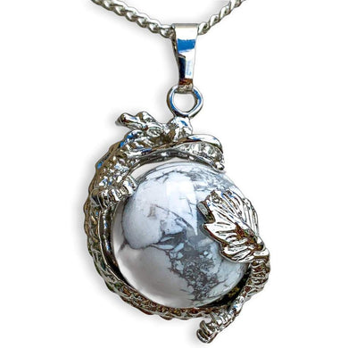 Howlite Sphere Dragon Pendant Necklace - Dragon necklace - Magic crystals