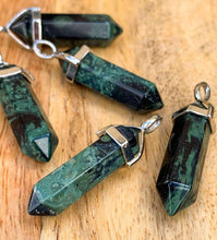 Load image into Gallery viewer, Looking for a Kambaba Jasper Necklace? Find the best Rhyolite Kambaba Jasper Stone Double Point Handmade Pendant Necklace when you shop at Magic Crystals. Kambaba Jasper crystal necklace, Rhyolite, Kambaba Jasper meaning stone of peace, tranquility, and fertility. Crocodile jasper properties, jasper healing properties