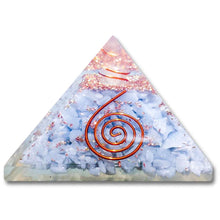 Load image into Gallery viewer, Shop for the Best orgone pyramid Collection in Magic Crystals. Angelite Orgone Pyramid, Energy Generator Orgone Pyramid for Emf protection. Our Angelite Orgonite pyramids made of a mix of organic - resin and non-organic materials (metal shavings). Find Orgone accumulator, orgone generator and Orgonite Angelite Crystals