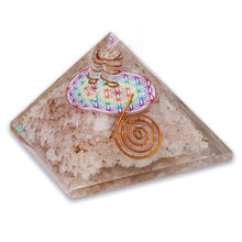 Load image into Gallery viewer, Shop for the Best orgone pyramid Collection in Magic Crystals. Rose Quartz Orgone Pyramid, Flower Of Life, Energy Generator Orgone Pyramid for Emf protection. Our Rose Quartz Orgonite pyramids made of a mix of organic - resin and non-organic materials (metal shavings). Find Orgone accumulator, orgone generator and Orgonite Crystals