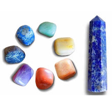 Load image into Gallery viewer, Shop at MAGIC CRYSTALS for a 7 Chakra Stones + Lapis Lazuli Point Bundle Kit. Gemstone Crystal Healing Kit. 8 items: Single Point Lapis Lazuli, and 7 Chakras Stone Set: (Red Jasper Stone, Peach Aventurine Stone, Golden Quartz, Green Aventurine Stone, Lapis Lazuli Stone, Iolite Stone, Amethyst Stone).