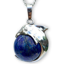 Load image into Gallery viewer, Lapis Lazuli Sphere Dolphin Pendant Necklace Lapis Lazuli Sphere Dolphin Pendant Necklace