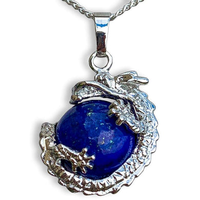 Lapis Lazuli Sphere Dragon Pendant Necklace - Dragon Necklace - Magic crystals