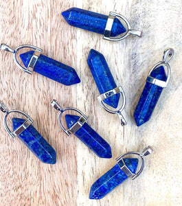 925 Sterling Silver Real Blue Lapis Lazuli Double Point Handmade Necklace and Pendant, Crystals. The very best quality of Lapis Lazuli Pendants and necklaces. FREE SHIPPING available. Communication stones. Blue gemstone pendants, and blue stone necklaces. Genuine Blue Lapis Lazuli
