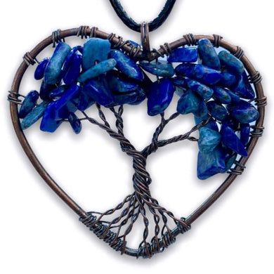 Copper Heart Lapis Lazuli Pendant - Magic Crystals - Handmade Necklace - Copper Necklace