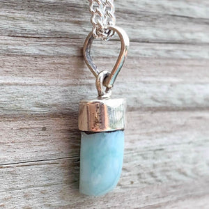 Larimar Tooth Vintage Necklace