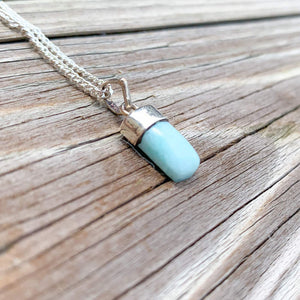 This lovely, rare, and spectacular mineral gem called Larimar is found in the Dominican Republic. Shop Genuine Larimar Necklace set in Sterling Silvera at Magic Crystals. Magiccrystals.com carry Larimar Pendant, Sterling Caribbean Larimar Necklace, Larimar Jewelry, Gift For Her, Gemstone Pendant.