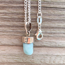 Load image into Gallery viewer, This lovely, rare, and spectacular mineral gem called Larimar is found in the Dominican Republic. Shop Genuine Larimar Necklace set in Sterling Silvera at Magic Crystals. Magiccrystals.com carry Larimar Pendant, Sterling Caribbean Larimar Necklace, Larimar Jewelry, Gift For Her, Gemstone Pendant.