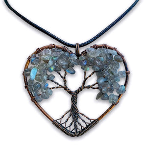 Labradorite Tree of Life Copper Heart Pendant Necklace, Magic Crystals - Copper Necklace - Handmade jewelry