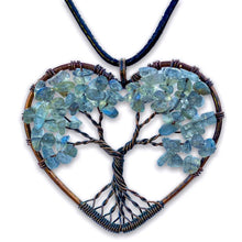 Load image into Gallery viewer, Labradorite Tree of Life Copper Heart Pendant Necklace, Magic Crystals - Copper Necklace - Handmade jewelry