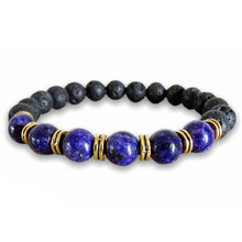 Load image into Gallery viewer, Lava Stone and Lapis Lazuli Bracelet-Bracelets-Magic Crystals-Lapis Lazuli Jewelry