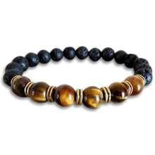 Load image into Gallery viewer, Lava Stone and Yellow Tiger Eye Bracelet - Magic Crystals