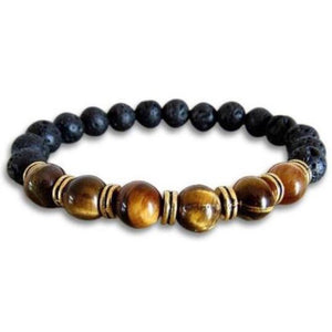 Lava Stone and Yellow Tiger Eye Bracelet - Magic Crystals