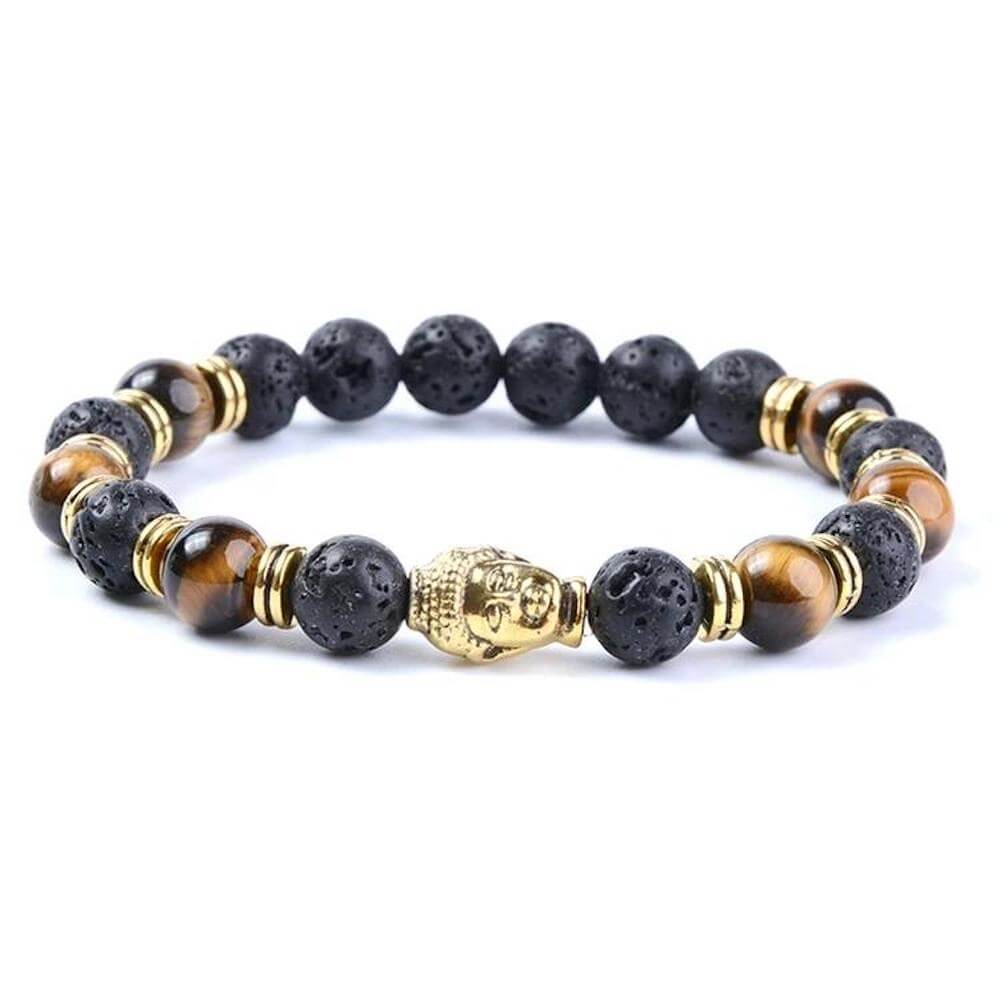 Lava Stone and Yellow Tiger Eye Gold Buddha Bracelet - Magic Crystals