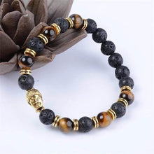 Load image into Gallery viewer, Lava Stone and Yellow Tiger Eye Gold Buddha Bracelet - Magic Crystals