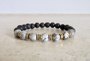 Lava Stone and Zebra Jasper Bracelet - Jasper Jewelry - Magic Crystals