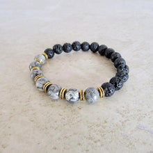 Load image into Gallery viewer, Lava Stone and Zebra Jasper Bracelet - Jasper Jewelry - Magic Crystals