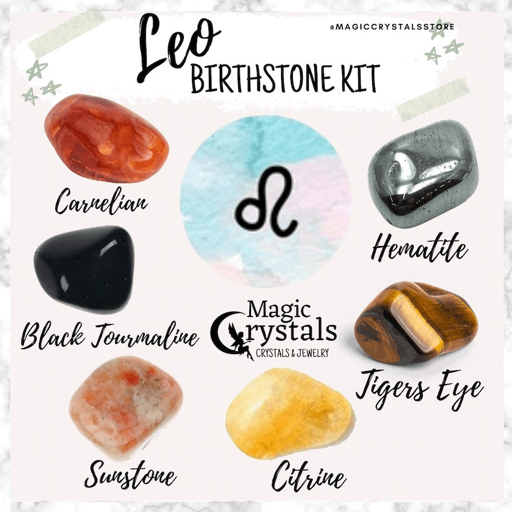 Shop for LEO Crystals Set, Crystals and Stones for Leo, Zodiac Stones Pouch, Star Sign tumbled stones, Zodiac Crystal Gift, Constellation Gift, Gift for friends, Gift for sister, Gift for Crystals Lovers at Magic Crystals. Magiccrystals.com made up of several uniquely paired gemstones for Leo.