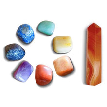 Load image into Gallery viewer, Shop 7 Chakra Stones + Carnelian Point Bundle Kit at MAGIC CRYSTALS. We carry gemstones for Crystal Healing Kits. Includes 8 items: Single Point Carnelian,7 Chakras Stone Set: Red Jasper Stone, Peach Aventurin, Golden Quartz, Green Aventurine, Lapis Lazuli, Iolite, Amethyst).