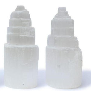 "4"" and 6"" Natural White Selenite Tower-MINERALS-Magic Crystals"