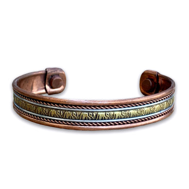 Copper Bracelet Magnetic - Engraved Elephant Design - Magic Crystals - Copper Bracelet - Unisex bracelet