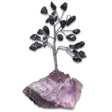 Looking for crystal home decor? Shop at Magiccrystals.com for Mini Gray Hematite Bonsai Tree on Amethyst Cluster. Magic Crystals has a variety of HOME DECOR made of crystals and gemstones. Hematite is known as the stone of grounding. Gemstone tree. Birthstone silver plated wire tree sculpture. Amethyst geode gift.