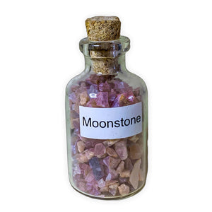 moonstone pieces in bottles, moonstone small glass bottle. Gemstone Crystal Bottle - Stone Bottle Set - Gemstone Chips - Tarot Gemstone Bottle, Crystal Gemstone Bottle - gemstone crystal chips. The listing is for one Crystal Bottle. Crystals included Peridot, Blue Topaz, Carnelian, Turquoise, Moonstone, Rose Quartz, Tigers Eye, Quartz, Amethyst, Aventurine, Garnet, Citrine.