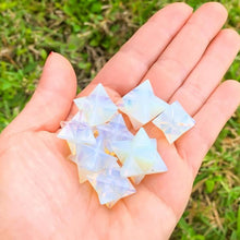 Load image into Gallery viewer, Merkaba Healing Crystals are known for activation of the Light Body merged with the Physical Body in Awakening deep Spiritual Transformation. Shop for Opalite Stone Crystal Merkaba - Sacred Geometry Star at Magic Crystals. Magiccrystals.com has Merkaba Necklace, gemstone Merkabahs, and Sacred Geometry sets