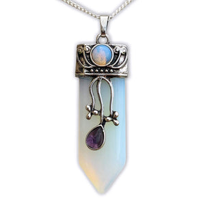 Opalite Flower Point Pendant Necklace - Stone Necklace - Magic Crystals
