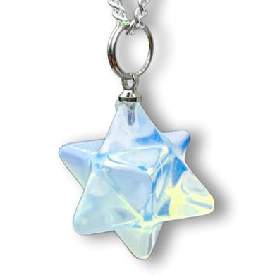 Opal Stone Star of David Estrella de David Merkaba Opalite Necklace and pendant - Magic crystals
