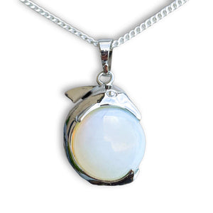 Find the best selection of opalite pendants here at Magic Crystals. Opalite stabilizes mood swings and helps in overcoming fatigue. Our dolphin charm opalite gemstone pendant is a delightful way to enjoy the beauty and energy. Pendant, Mother's Day Gift. Fathers Day Gift. Christmas Present for HIM and HER.