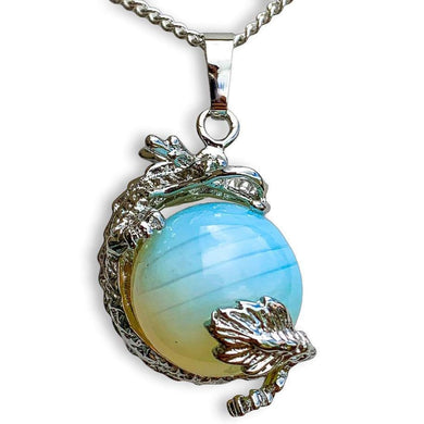 Opalite Sphere Dragon Pendant Necklace - Dragon necklace - Magic crystals
