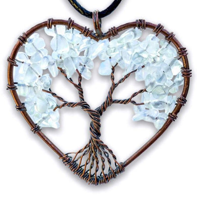 Opalite Tree of Life Copper Wire Heart Opal Necklace - Magic Crystals  - Copper Necklace