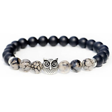Black Onyx Stone & Black Tourmalinated quartz Gemstone Owl Bracelet - Magic Crystals - Owl Bracelet