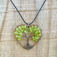 Load image into Gallery viewer, Looking for Copper Jewelry? Magic Crystals offers handmade Heart Pendant Copper Peridot necklaces for Him or Her Gift. Heart Gift perfect for any occasion. HEART PENDANT, Peridot Heart Pendant, love Heart Necklace With gemstones. FREE SHIPPING available. Tree of Life made of copper in a pendant necklace.