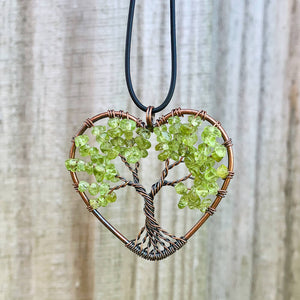 Looking for Copper Jewelry? Magic Crystals offers handmade Heart Pendant Copper Peridot necklaces for Him or Her Gift. Heart Gift perfect for any occasion. HEART PENDANT, Peridot Heart Pendant, love Heart Necklace With gemstones. FREE SHIPPING available. Tree of Life made of copper in a pendant necklace.