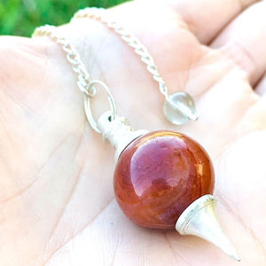 What is a pendulum? A pendulum is an object hung that swings back and forth. Buy Red Agate Sphere Pendulum, Crystal for Dowsing in Magic Crystals. Magiccrystals.com has pendulum with chakra stones for Divine Knowledge. Learn how to use a pendulum, Gemstone pendulum or pendulum stone in our site.