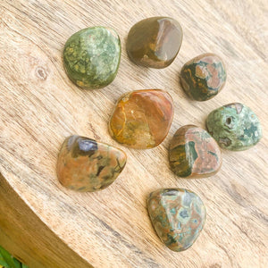 Buy Rainforest Jasper Tumbled Stones, Rainforest Jasper Polished Gemstone, Healing Stone, Bulk Crystals at Magic Crystals. Free shipping available in Magic Crystals. Rainforest Jasper offers a key one's heart connection to nature and one's impulse to work toward planetary healing.
